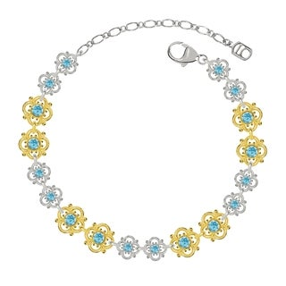Lucia Costin Sterling Silver Light Blue Crystal Bracelet