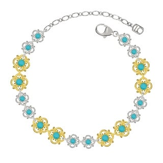 Lucia Costin Sterling Silver Turquoise Crystal Bracelet