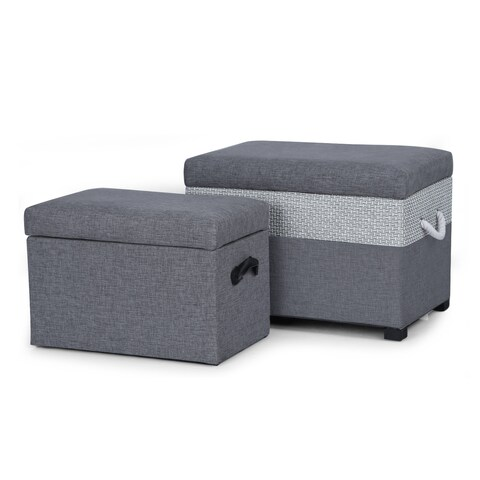 Adeco Grey Fabric Storage Ottoman Bench (Set of 2)