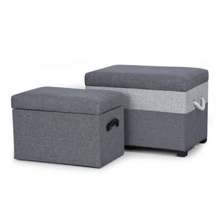 Adeco Grey Fabric Storage Ottoman Bench (Set of 2)