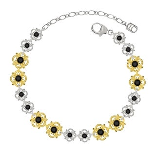 Lucia Costin Sterling Silver Black Crystal Bracelet