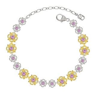 Lucia Costin Sterling Silver Lilac Crystal Bracelet