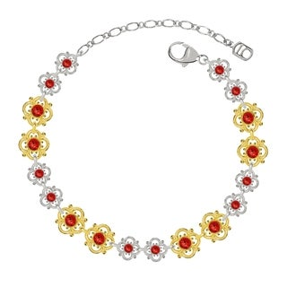 Lucia Costin Sterling Silver Red Crystal Bracelet