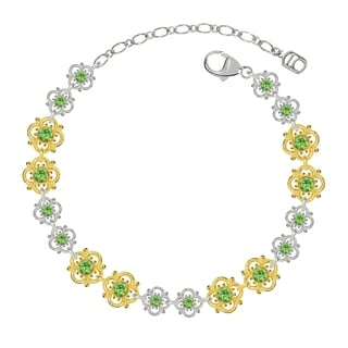 Lucia Costin Sterling Silver Light Green Crystal Bracelet