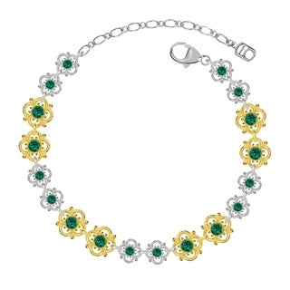 Lucia Costin Sterling Silver Green Crystal Bracelet