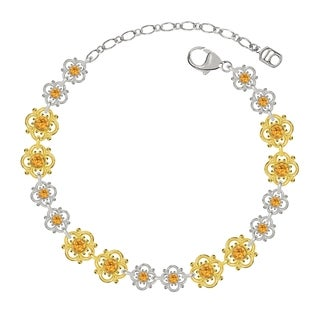 Lucia Costin Sterling Silver Yellow Crystal Bracelet