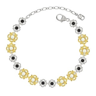 Lucia Costin Sterling Silver White/ Black Crystal Bracelet