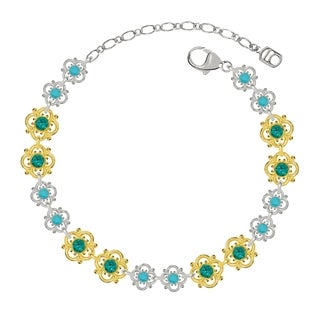 Lucia Costin Sterling Silver Turquoise Green Crystal Bracelet