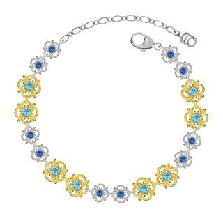 Lucia Costin Sterling Silver Light Blue/ Blue Crystal Bracelet