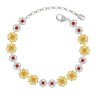 Lucia Costin Sterling Silver Yellow/ Red Crystal Bracelet