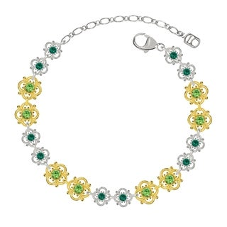 Lucia Costin Sterling Silver Light Green/ Dark Green Crystal Bracelet
