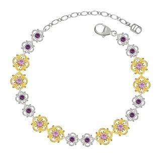 Lucia Costin Sterling Silver Lilac/ Violet Crystal Bracelet