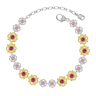 Lucia Costin Sterling Silver Fuchsia/ Light Pink Crystal Bracelet