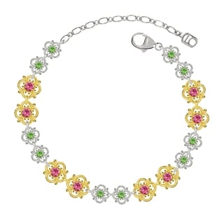 Lucia Costin Sterling Silver Pink/ Light Green Crystal Bracelet