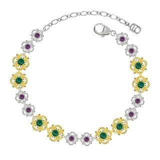 Lucia Costin Sterling Silver Green/ Violet Crystal Bracelet