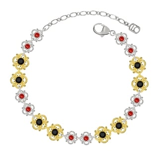 Lucia Costin Sterling Silver Black/ Red Crystal Bracelet