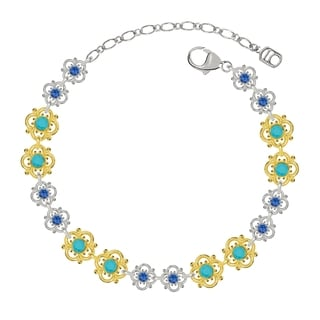 Lucia Costin Sterling Silver Turquoise/ Blue Crystal Bracelet