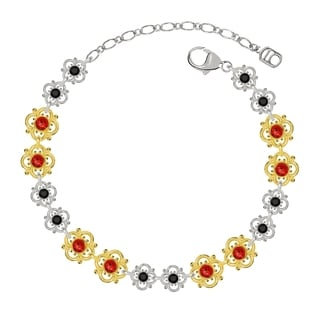 Lucia Costin Sterling Silver Red/ Black Crystal Bracelet