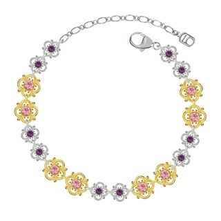 Lucia Costin Sterling Silver Violet/ Light Pink Crystal Bracelet