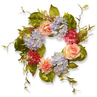 23-inch Dahlia, Hydrangea and Rose Wreath