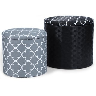 Adeco Grey and Black Fabric Round Storage Ottoman (Set of 2)