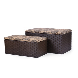 Adeco Fabric Printing Lid Storage Ottoman Bench (Set of 2)