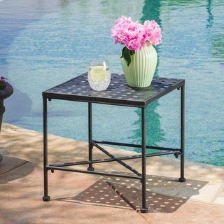 Petra Outdoor Iron End Table by Christopher Knight Home
