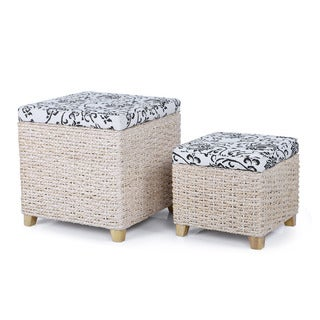 Adeco Natural Flowers Print with Bulrush Weave Storage Ottomans (Set of 2)