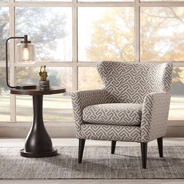 Madrid Taupe Beige Ultra Modern Living Room Furniture 3: Madison Park Letti Grey/ Beige Concave Club Chair