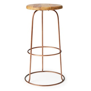 Copper Ring Teak Top Bar Stool (India)