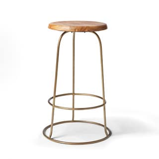 Brass Ring Teak Top Counter Stool (India)