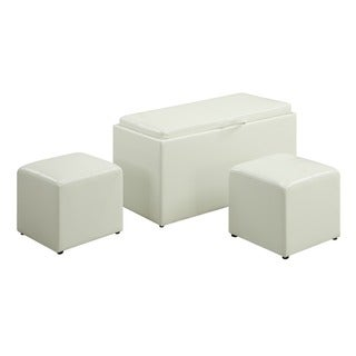 Convenience Concepts Designs2Go Sheridan Storage Bench with 2 Side Ottomans