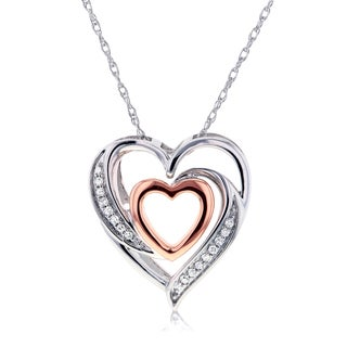 Annello by Kobelli 10k Two Tone Gold Double Hearts Diamond Pendant (H-I, I2)