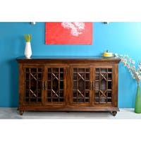 Somette 4-Door Rich Cappucino Mango Media Credenza