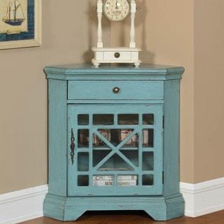 Somette 1-Door Textured Bayberry Blue Corner Cabinet