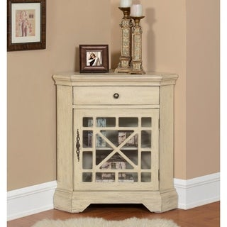 Somette 1-Door Textured Ivory Corner Cabinet