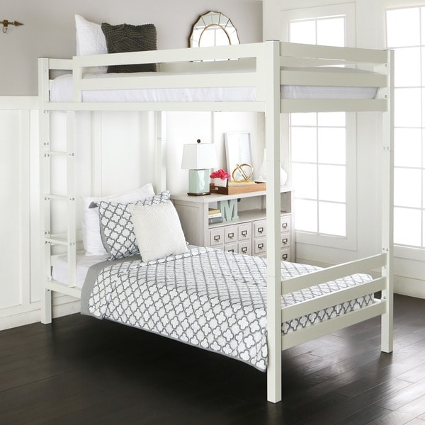 Shop Twin Over Twin Metal Bunk Bed White Free Shipping