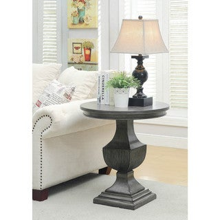 Somette Burnished Grey Round Accent Table
