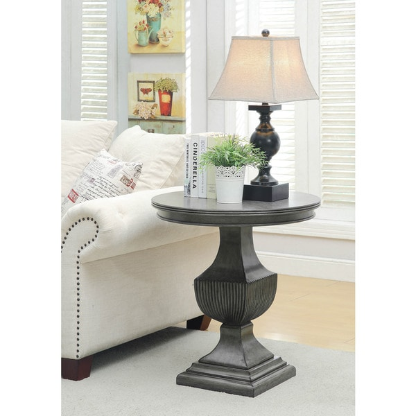 "Somette Burnished Grey Round Accent Table - 26""L x 26""W x 28""H"