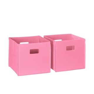 2-piece Pink Cut-out Handle Folding Storage Bin Set