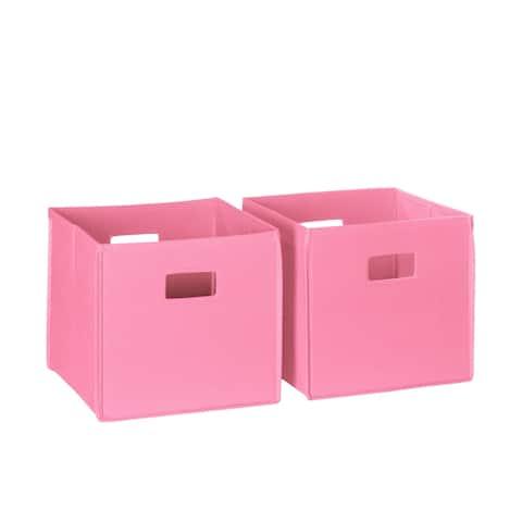 RiverRidge 2-piece Kids Pink Folding Storage Bin Set with Handles
