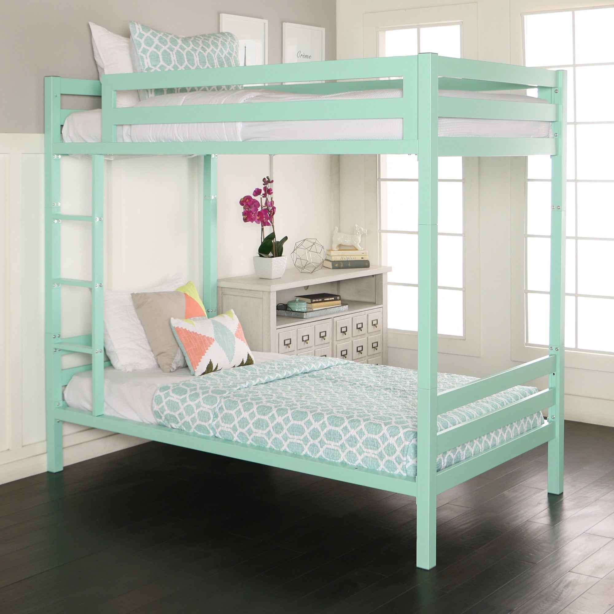 Twin over Twin Metal Bunk Bed - Mint, Green