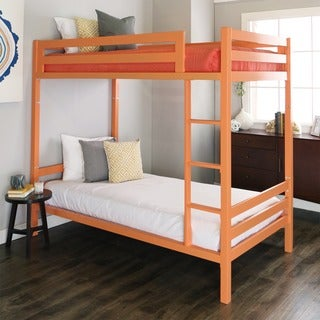 Twin over Twin Metal Bunk Bed - Coral