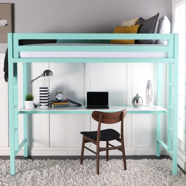 Twin Metal Loft Bed with Desk - Mint