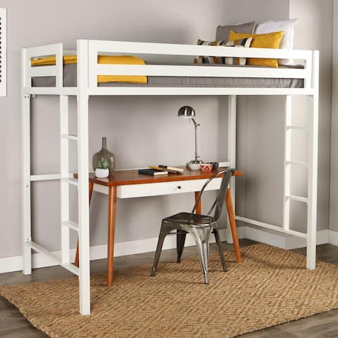Taylor & Olive Browning Twin Metal Loft Bed - White