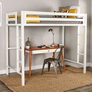 Twin Metal Loft Bed   White