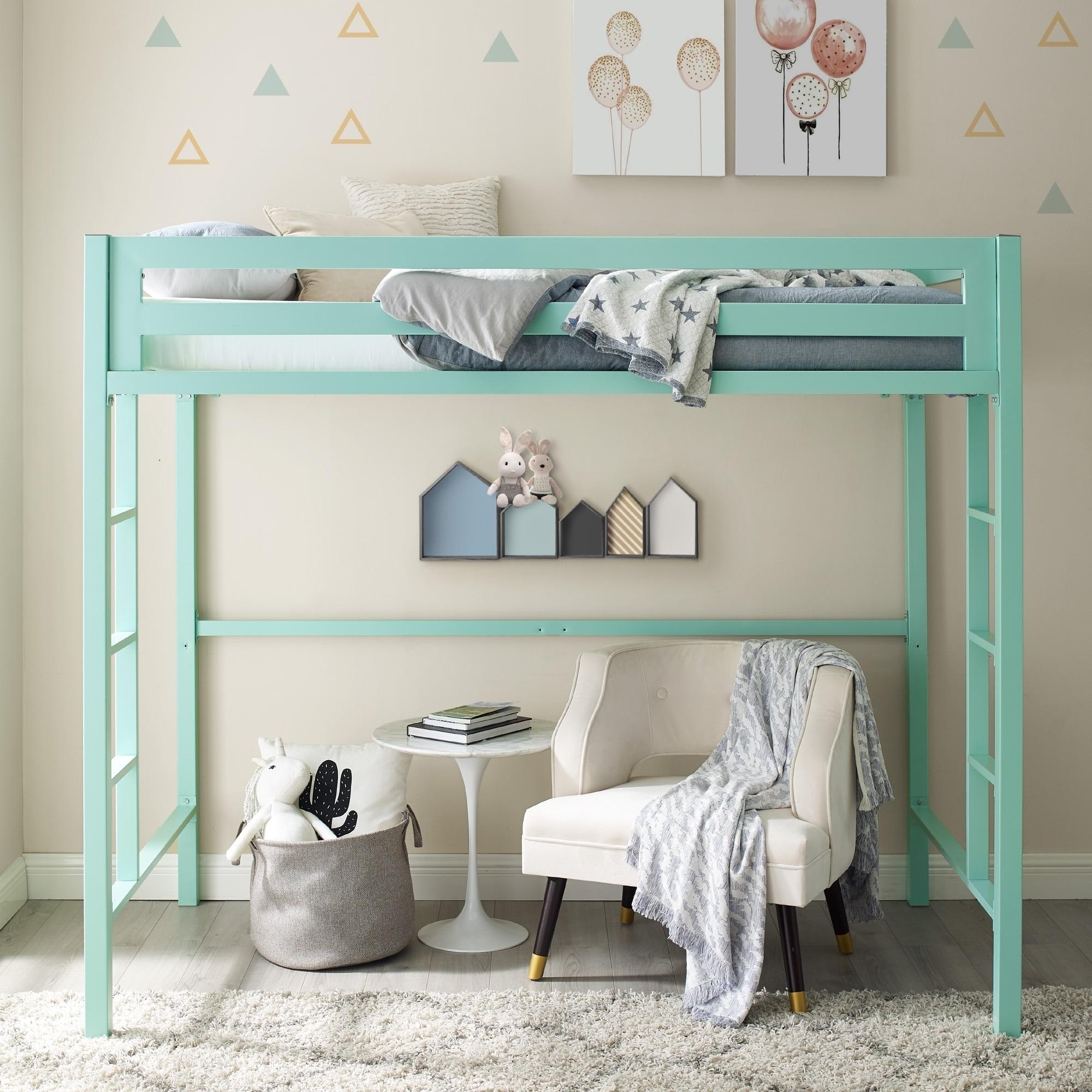 Mint-colored Twin Metal Loft Bed (Twin Metal Loft Bed - M...