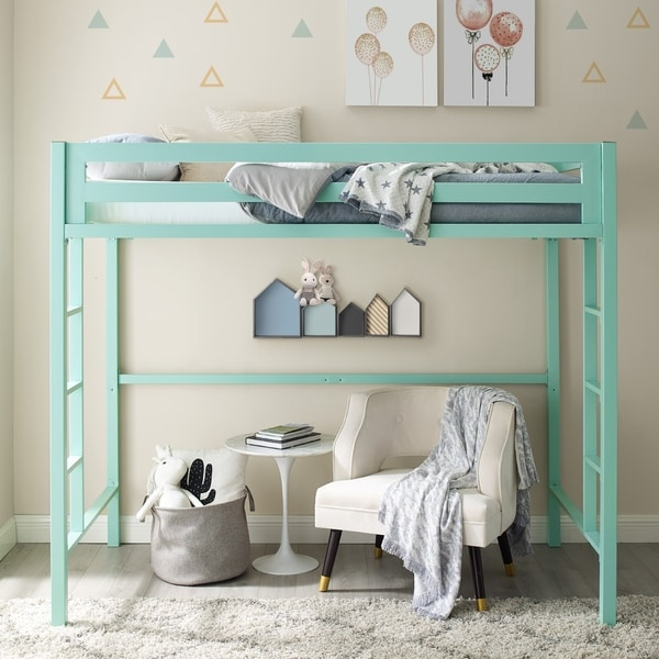 Taylor & Olive Browning Mint Twin Metal Loft Bed
