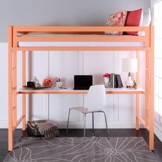 Twin Metal Loft Bed with Workstation - Coral