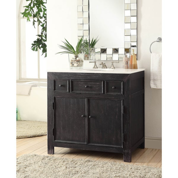 somette black 36 inch 2 drawer drop in vanity sink free shipping